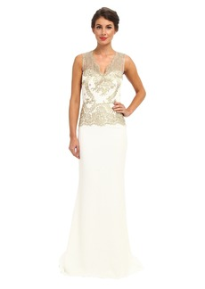 Badgley Mischka Gold Lace Gown