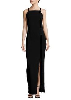 Badgley Mischka Grommet Ribbon Floor-Length Dress