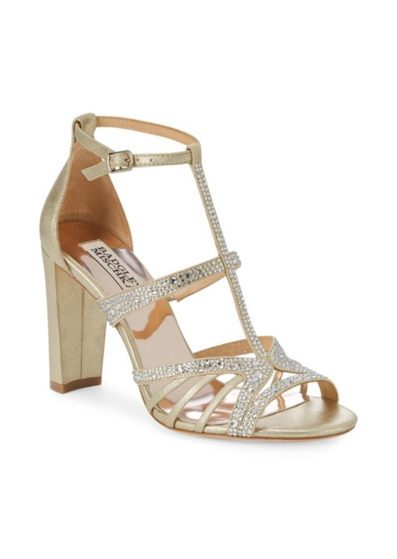 Badgley Mischka Hewitt Embellished Leather T-Strap Sandals