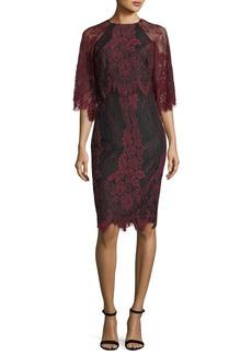 Badgley Mischka High-Neck Lace Flutter-Sleeve Sheath Dress