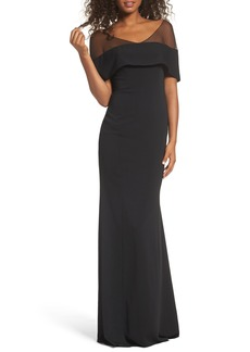 Badgley Mischka Illusion Off the Shoulder Mermaid Gown