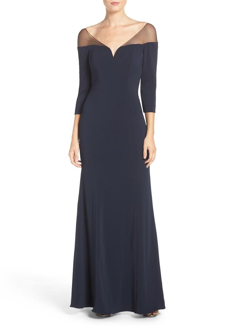 Badgley Mischka Illusion Shoulder Stretch Gown