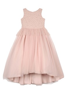 Badgley Mischka Imitation Pearl Beaded Peplum Dress (Little Girl)