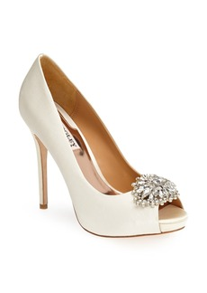 Badgley Mischka 'Jeannie' Crystal Trim Open Toe Pump (Women)