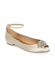 Badgley Mischka Kaidence Embellished Peep-Toe Flat (Women)