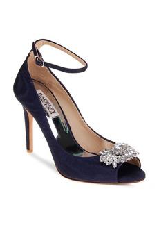 Badgley Mischka Kali Embellished Satin Ankle Strap High Heel Pumps