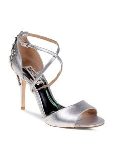 Badgley Mischka Karmen Embellished Metallic Leather High Heel Sandals