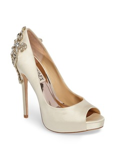 Badgley Mischka Karolina Embellished Peep Toe Pump (Women)