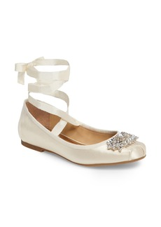 Badgley Mischka Karter Embellished Ankle Wrap Ballet Flat (Women)