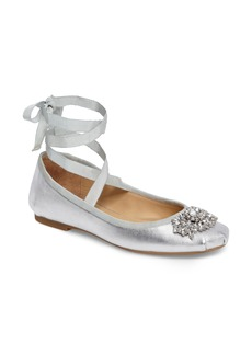 Badgley Mischka Karter II Embellished Ankle Wrap Ballet Flat (Women)