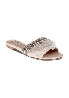 Badgley Mischka Kassandra Embellished Satin Slide Sandals