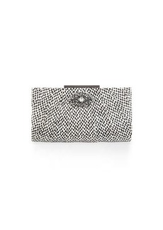 Badgley Mischka Katrina Snake-Embossed Leather Evening Clutch Bag