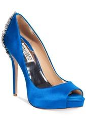 Badgley Mischka Kiara Embellished Peep-Toe Evening Pumps Women's Shoes