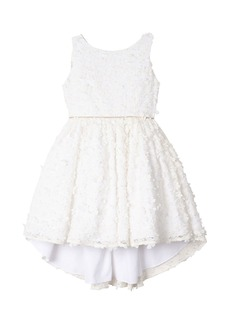 Badgley Mischka Kid's Flower Lace High-Low Dress  Size 7-16