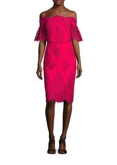 Badgley Mischka Off-The-Shoulder Lace Dress
