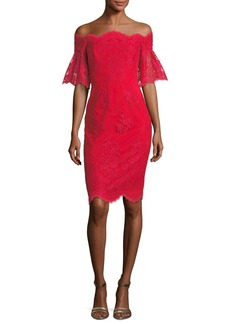 Badgley Mischka Lace Off-the-Shoulder Flutter-Sleeve Cocktail Dress
