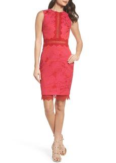 Badgley Mischka Lace Panel Sheath Dress