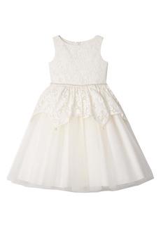 Badgley Mischka Collection Lace Peplum Dress (Big Girls)