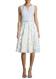 Badgley Mischka Lace-Skirt Sleeveless Cocktail Dress