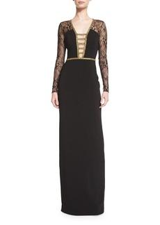 Badgley Mischka Lace-Sleeve Deep-V Gown