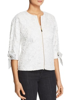 Badgley Mischka Lace Tie-Sleeve Jacket