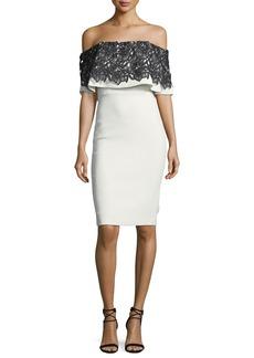 Badgley Mischka Lace-Trim Popover Sheath Dress