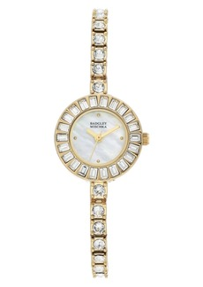 Badgley Mischka Ladies Gold-Tone Bangle Encrusted with Swarovski Crystals Watch 33mm