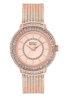 Badgley Mischka Ladies Rose Gold-Tone Liquid Chain Bracelet with Swarovski Crystal Accents Watch 34mm