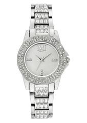Badgley Mischka Ladies Silver-Tone Bracelet with Swarovski Crystal Accents