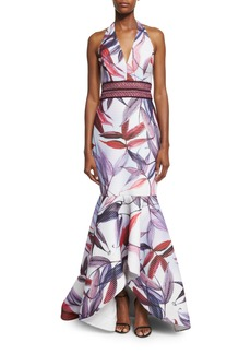 Badgley Mischka Leaf-Printed Macrame Mermaid Dress