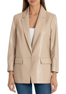 Badgley Mischka Leather Boyfriend Blazer