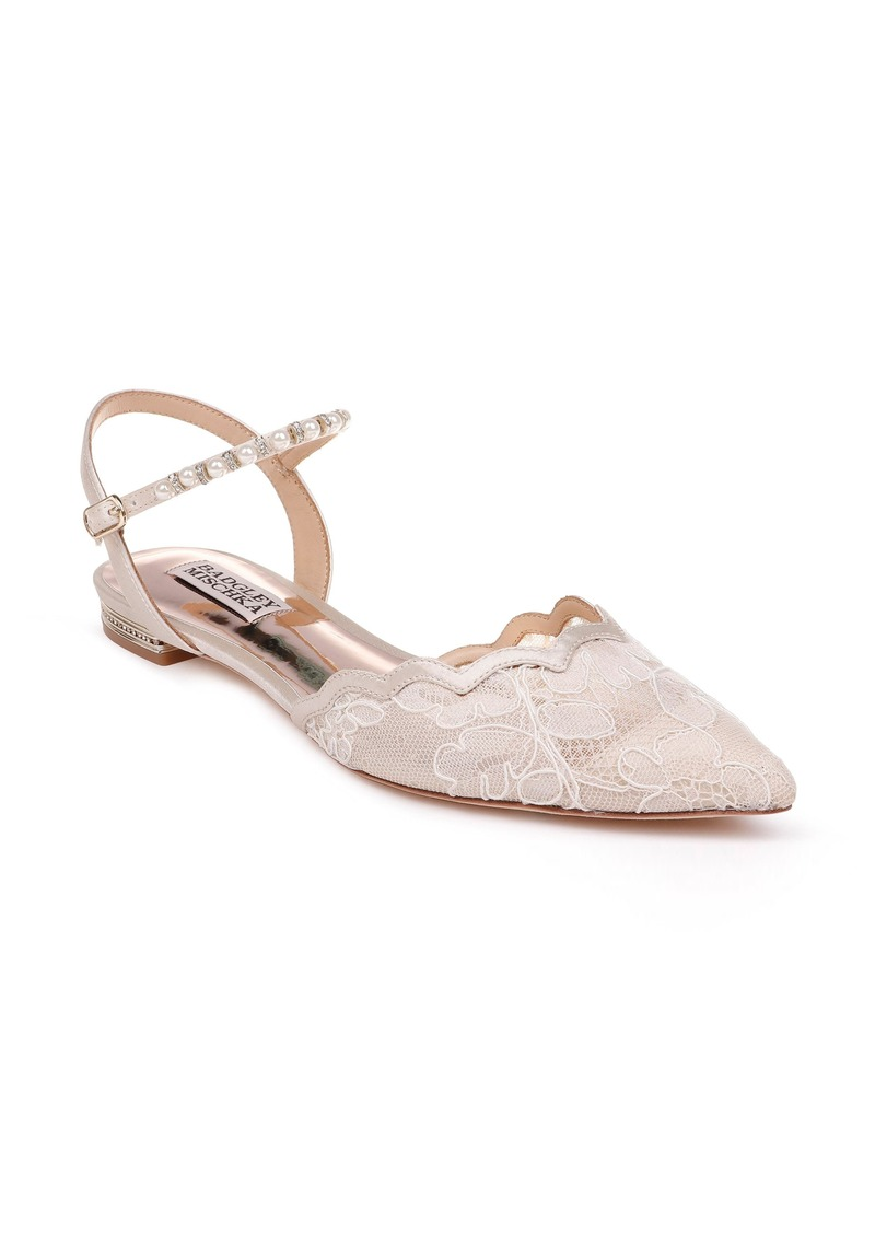Badgley Mischka Lennon Embellished Skimmer Flat (Women)