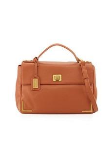 Badgley Mischka Linda Pebbled-Leather Satchel Bag