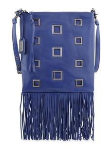 Badgley Mischka Lisa Leather Crossbody Bag W/Fringe