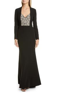 Badgley Mischka Long Sleeve Embellished Gown