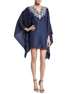 Badgley Mischka Long-Sleeve Embroidered-Neck Caftan Dress