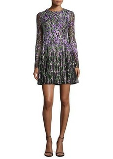 Badgley Mischka Long-Sleeve Floral-Embroidered Cocktail Dress