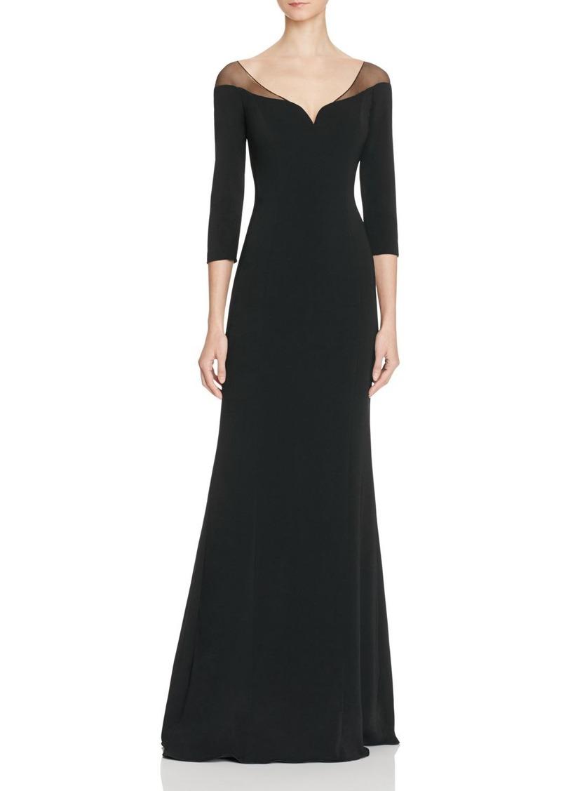 Badgley Mischka Long Sleeve Illusion Gown