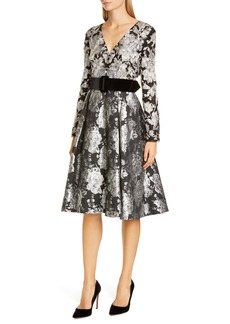 Badgley Mischka Long Sleeve Jacquard Cocktail Dress