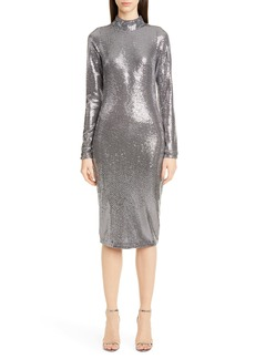 Badgley Mischka Long Sleeve Sequin Cocktail Dress