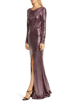 Badgley Mischka Long Sleeve Sequin Gown