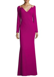 Badgley Mischka Long-Sleeve Stretch Crepe Gown