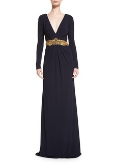 Badgley Mischka Long-Sleeve V-Neck Embellished-Waist Gown