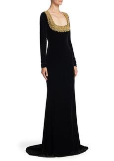 Badgley Mischka Long Sleeve Velvet Floor-Length Gown