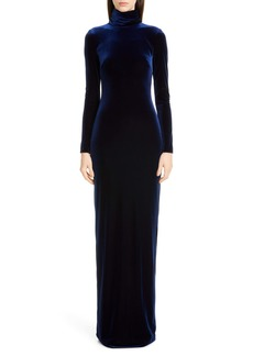 Badgley Mischka Long Sleeve Velvet Gown