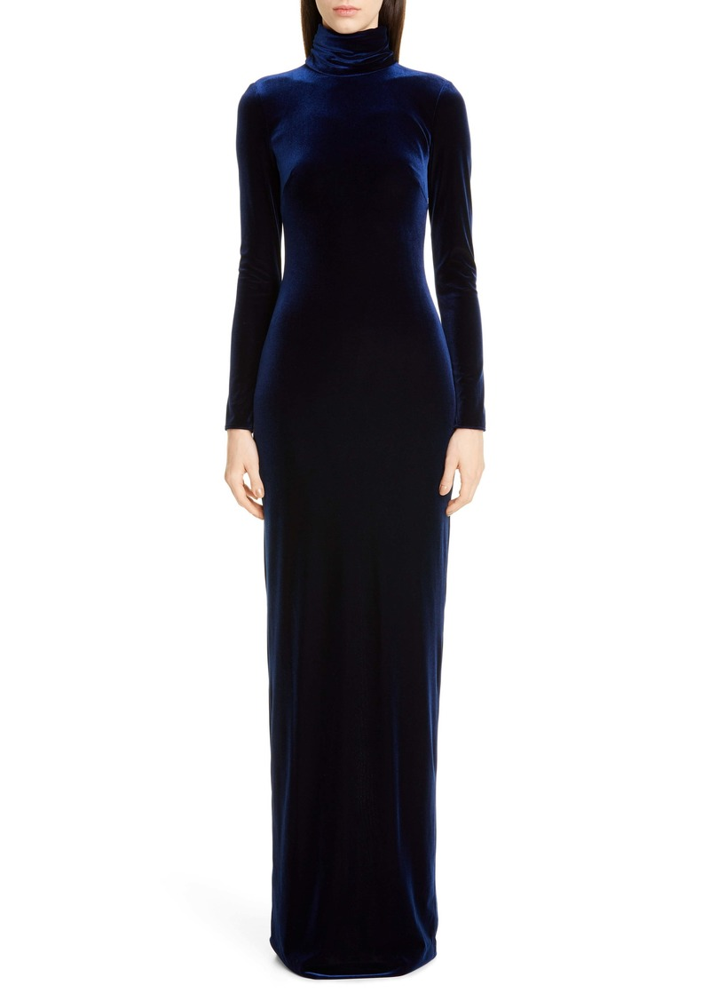 Badgley Mischka Long Sleeve Velvet Gown