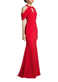Badgley Mischka Loop Cold-Shoulder Gown