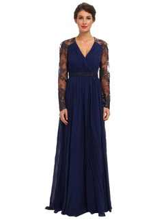 Badgley Mischka L/S Lace Sleeve Gown