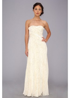 Badgley Mischka Lurex Threaded Strapless Gown