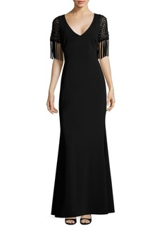 Badgley Mischka Macrame Evening Gown